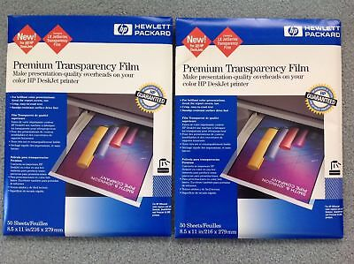 2 - HP Premium Inkjet Transparency Film C3834A 50 count 100 total NEW UNOPENED