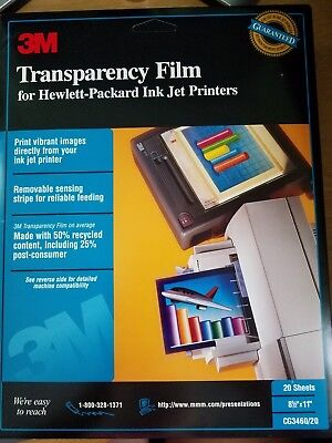 "3M Transparency Film for HP Color Ink Jet Printers CG3460 20 Sheets 8.5"" x 11"""