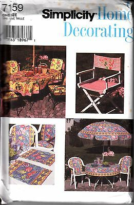 Simplicity Home Decorating Sewing Pattern #7159 Deck & Patio Accessories