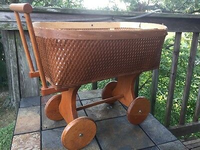 Antique Primitive DOLL BABY Buggy CARRIAGE Wicker Wood Handmade VINTAGE FIND