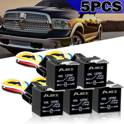 5pcs Auto Car Relay w/ Socket 12V 80A AMP 5Pin Starter Relays For sprinter 2500