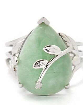 Jade Cocktail Ring And Matching Earrings  Ring Size L/M (resizeable ) diamond ac