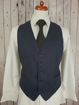 "Vintage 1980s Mens Single Breast Blue / Black Wool Blend Waistcoat Size 42"" GZ52"