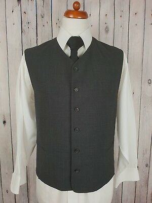 "Vintage Mens Single Breast Multi Tone Grey High Fit Waistcoat Size 46"" GZ55"