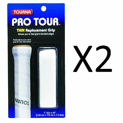 Tourna Tennis Racquet Replacement Grip Pro Tour Grip 1.5 mm-White (2-Pack)