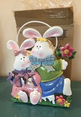 HOME INTERIORS 12998 TIN Easter Bunnies CANDLE HOLDER LANTERN NEW IN BOX