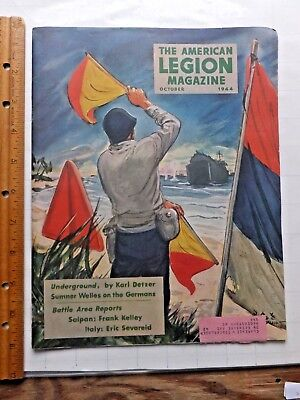1944 American Legion Magazine. NICE World War II Cover, Articles and Ads. 52 pgs