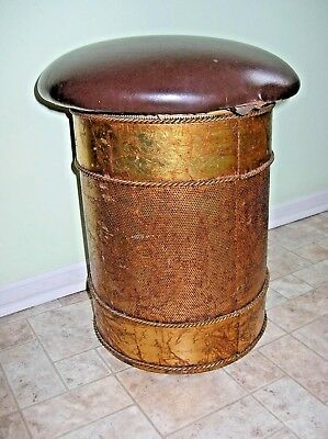 Vintage Hollywood Regency Gold Tole Industrial Drum Storage Stool Metal