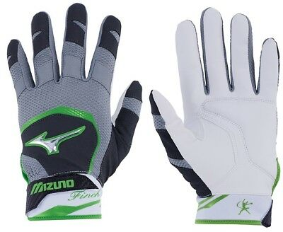 1pr 2018 Mizuno 330387 Adult X-Large Black / Optic Finch Womens Batting Gloves
