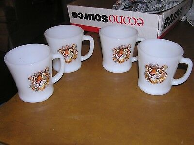 Vintage Fire King Mug Esso Exxon Tiger In Your Tank Coffee Cup Lot of 4