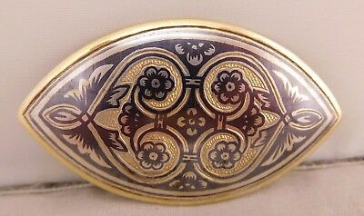 Lovely Antique Russian Sterling Silver Niello Floral Flower Brooch Pin