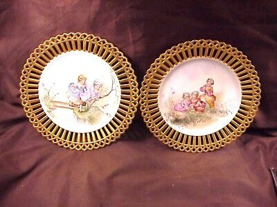 2 HAND PAINTED, PIERCED EDGE PLATEs, ARTIST SIGNED, PROBABLY GERMAN, 19TH C