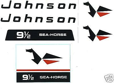 Johnson Outboard Hood Decals 9.5 hp 1966