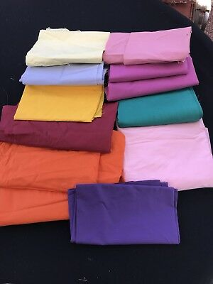 Lot Of Vintage Colorful Solid Color Cotton Fabric Quilting Crafting