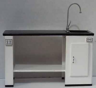 Dollhouse miniature handcrafted Hospital science laboratory table sink cupboard
