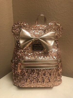 Disney Parks Minnie Mouse Rose Gold Loungefly Backpack - New!