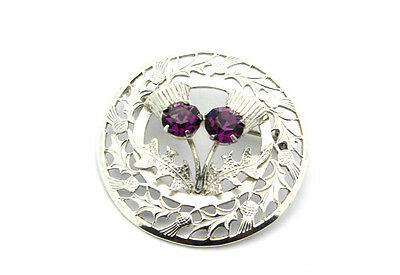 Sterling Silver .925 Stunning Holiday Leaves Amethyst Pin Brooch 8.3g #8729