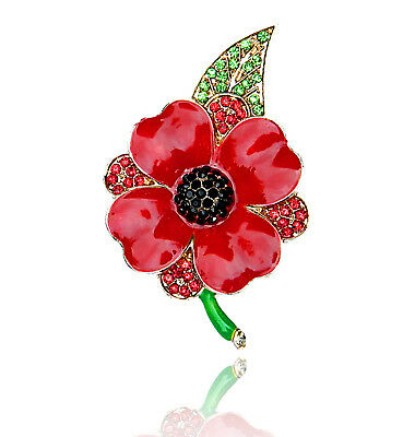 Gold red poppy flower symbolic brooch coat poppies remembrance day red petals new collection poppies poppy day flower brooch pin coat blouse br473 mightylinksfo