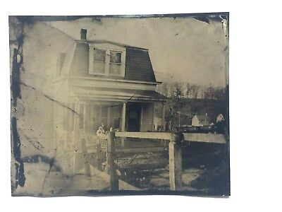 Large Antique Victorian Tintype Photograph Fort Lee N.j. Home With Kids On Porch