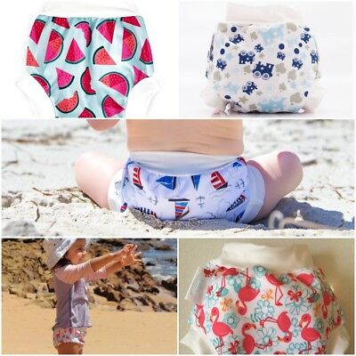 Bambooty Swim Nappy Bamboo Lined for Comfort 4 sizes Leg Cuffs Leak Protection