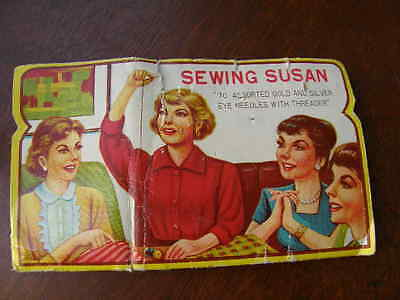 """2578)Sewing Susan Needle Book """"70 Assorted Gold & Silver Eye Needles W Threader"""""""