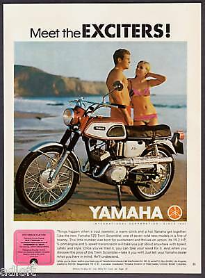 1968 Yamaha 125 Twin Scrambler Photo vintage print ad