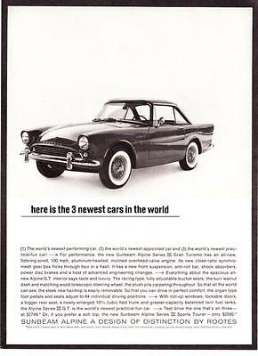 1963 Sunbeam Alpine Series III Gran Turismo GT Coupe photo vintage print ad