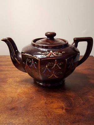 Vintage Brown Moriage Handpainted Japan Redware Individual Brown Betty Teapot
