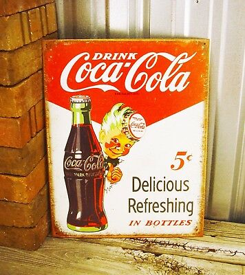 Coca-Cola Coke Drink Bottle Cap Metal Tin Sign Vintage Retro Logo Kitchen Bar