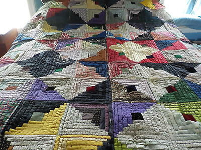 "Vintage log cabin quilt bright colors hand done satins & other fabrics 60"" x 72"""