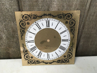 """Vintage Brass Colored 8"""" Square Clock Face for Parts Repair ML173"""