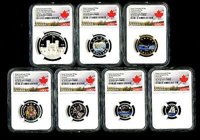 2018 Canada Rcm 7-Coin Colored Silver Proof Ngc Pf70 First Releases Complete Set