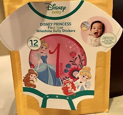 Disney Princess First Year Milestone Belly Stickers - Baby Girl.