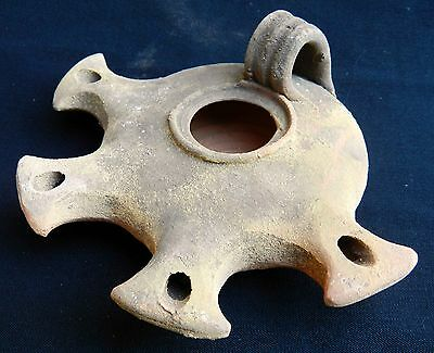 Big Jerusalem Oil lamp Holy Land Roman Herodian Antique Pottery Clay 4 Nozzles