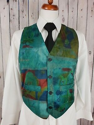 Vintage 1980s Mens Single Breast Crazy Pattern Gold Trim Waistcoat Sz M GZ78