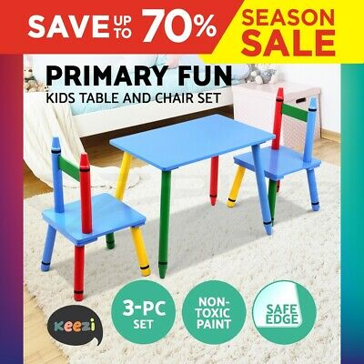 Keezi Kids Table and Chairs Children Wooden Furniture Outdoor Colour 3pc Set  sc 1 st  PicClick AU & TIKKTOKK CHILDRENu0027S WOODEN Square Table u0026 2 Chair Set Blue ...