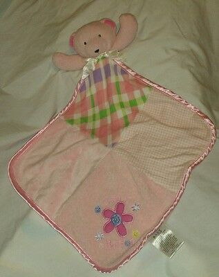 Baby Essentials Bear Cute As A Button Pink Baby Security Blanket Lovey Rattle
