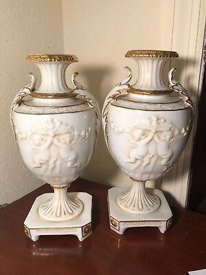 Vintage / Antique German Bolted Urns Set of Two Angels & Acanthus White & Gold