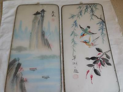 2 Old Japanese painting BIRDS & FLOWERS SILK Semitransparent vintage BOATS water