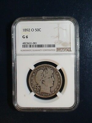 1892 O BARBER Half Dollar NGC GOOD 6 KEY DATE SILVER 50C Coin PRICED TO SELL!