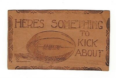 "1906 Leather Postcard - Football - ""here's Something To Kick About"" - Unused"