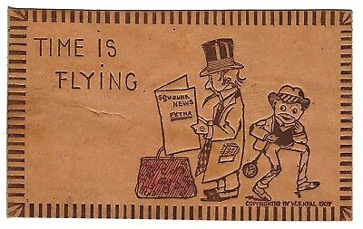 "1907 Antique Leather Postcard - ""time Is Flying"" - Unused"