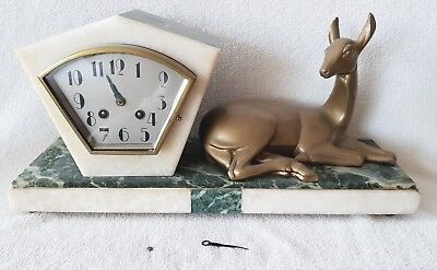 Mantel Clock Art Deco Shelf French Movement Pendulum Marble Base Signed