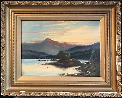 Fine Large Antique Scottish Loch Scene - Loch Awe Sunset Signed Oil Painting