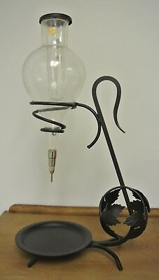 Vintage Glass Austria Wine Aerator Decanter Dispenser Wrought Iron Holder