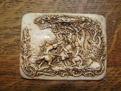 Porcelin small wall hanging, art nouveau, battle scene with bull, old, carved