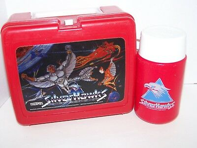 Vintage 1986 Thermos SILVER HAWKS Lunchbox w/Thermos RARE !!!