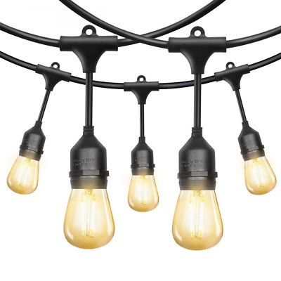 52Ft LED Outdoor String Lights, EAGWELL Commercial with 18 Dimmable Bulbs, UL Li