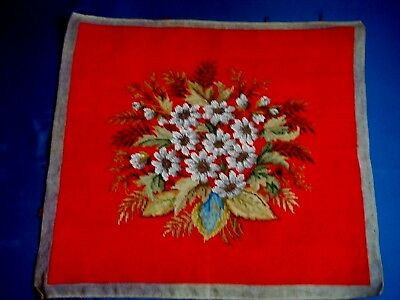 Vintage Hand Embroidered Beaded Flowers Tapestry Panel Picture Cushion Beadwork