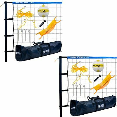 Park & Sun Sports Spectrum Portable Outdoor Tournament Volleyball Set (2 Pack)